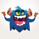 Verärgertes schreiendes Karikaturschwarzmonster Schreien des verärgerten Monsterausdrucks Glückliches Halloween Stockfotografie