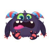 Verärgertes schreiendes Karikaturschwarzmonster Schreien des verärgerten Monsterausdrucks Große Sammlung nette Monster Halloween- Lizenzfreies Stockfoto