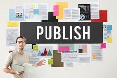 Veröffentlichen Sie Artikel-zufriedene Medien, Beitrags-, denerzeugnis Konzept schreiben stockfotos