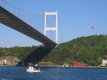 över den mehmet för fatih för bosporus bro sultanen tu Arkivbilder