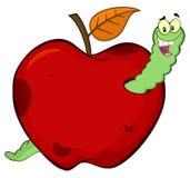 Ver heureux dans un fruit rouge putréfié d'Apple illustration de vecteur