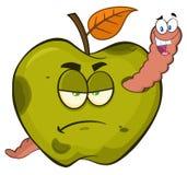 Ver heureux dans un fruit vert putréfié grincheux d'Apple illustration stock