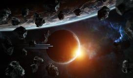 Ver planeetsysteem in ruimte met exoplanets het 3D teruggeven elem Stock Foto's