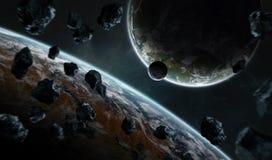 Ver planeetsysteem in ruimte met exoplanets het 3D teruggeven elem Royalty-vrije Stock Foto's