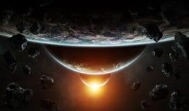 Ver planeetsysteem in ruimte met exoplanets het 3D teruggeven elem vector illustratie