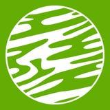 Ver weg groen planeetpictogram Stock Fotografie