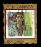 Vera by Frederick H. Varley. CANADA - CIRCA 1994: A stamp printed in Canada shows `Vera` by Frederick H. Varley, was a member of the Canadian Group of Seven stock image