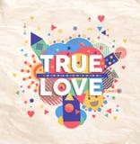 Vera progettazione del manifesto di citazione di amore Immagine Stock Libera da Diritti