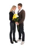 Verabredung. Der Kerl und das Mädchen mit in Liebe Stockbild