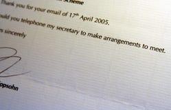 Verabredung; Interview-Einladung Stockbild