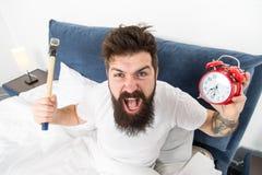 Verachtelijk programma Beste wekkers voor mensen die ochtenden haten De haatkielzog van mensen boos hipster omhoog vroeg vernieti royalty-vrije stock fotografie