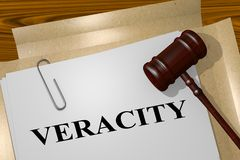 VERACITY - legal  concept. 3D illustration of VERACITY title on legal document Stock Images