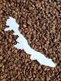 Veracruz översikt i vit och bakgrund med rostade kaffebönor arkivfoton