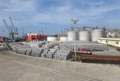 Veracruz harbor trail lines and cargo of aluminium with warehouses. Stock Images