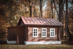 Veraltete hölzerne Hütte im Dorf Lizenzfreie Stockfotos