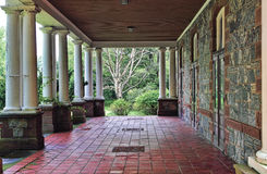 Veranda. View of back porch or veranda of historic Hudson Valley manion Royalty Free Stock Image