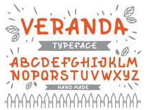 Veranda cursive font. Vector alphabet with latin letters in orange theme.  royalty free illustration