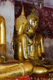 Veranda of Gild Buddha Sculptures at Wat Suthat, Bangkok of Thailand. Veranda of hundreds gild Buddha sculptures is a landmark of Wat Suthat is a great temple Stock Photography