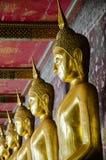 Veranda of Gild Buddha Sculptures at Wat Suthat, Bangkok of Thailand. Royalty Free Stock Image
