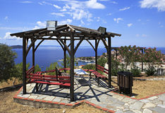 Veranda on the hill in Neos Marmaras. Royalty Free Stock Photography