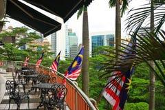 Veranda mit malaysischen Markierungsfahnen Lizenzfreies Stockfoto