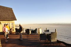 FView from the Onkoshi Camp to the Etosha Salt Pans royalty free stock images