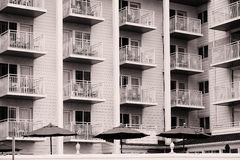 Veranda and railings on a beach front hotel Royalty Free Stock Photography