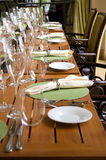 Veranda restaurant seating area table setting Stock Photo