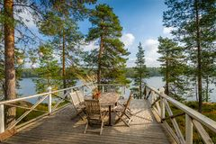 Veranda with wooden furniture Stock Photo