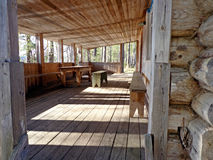 Veranda. Of the wooden village house Stock Photos