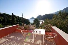 Verandah, hotel, sea gulf, sun Stock Images