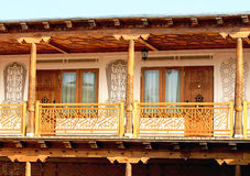 Verandah of the second tier of the oriental residential building Stock Image