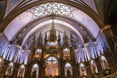 Verander binnenbasiliek van Notre Dame, Montreal, Quebec, Canada I royalty-vrije stock foto