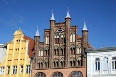 Verander Markt in Stralsund, Duitsland stock foto