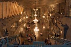 Verander in St Kinga Kapel binnen Wieliczka-zoutmijn in Polen Stock Afbeeldingen