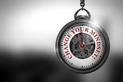 Verander Uw Denkrichting op Uitstekend Horlogegezicht 3D Illustratie Stock Foto's