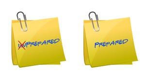 Veranderend het Onvoorbereide woord in Voorbereidingen getroffen vector illustratie