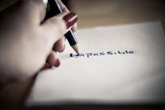 Veranderend het woord onmogelijk tot mogelijk stock afbeelding