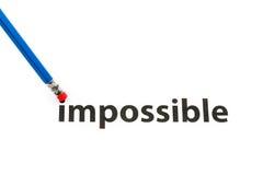 Veranderend het woord onmogelijk tot mogelijk Stock Afbeeldingen