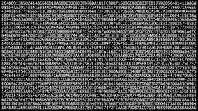 Veranderende binaire hexuitdraaicode inzake computerscherm, die omhoog het scrollen Gegevensoverdracht via netwerk en cyber veili royalty-vrije illustratie