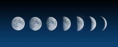 Veranderende fasen van de Maan stock afbeelding