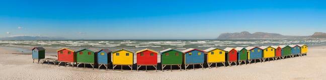 Veranderende hutten in Muizenberg (Zuid-Afrika) Royalty-vrije Stock Afbeeldingen