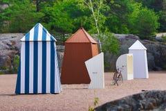 Veranderende klerencabines in Hanko, zuidelijk Finland royalty-vrije stock fotografie