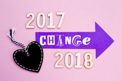 Verandering - 2017 tot 2018 Royalty-vrije Stock Foto