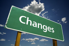 Veranderingen - Verkeersteken stock fotografie