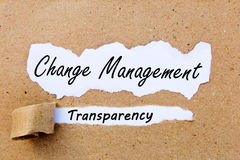 Veranderingsbeheer - Transparantie - succesvolle strategieën voor veranderingsbeheer royalty-vrije stock afbeelding