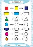 Veranderingskleur Kleurrijke vormen Lerende BasisVormen De kleur, Spoor, en trekt Aantekenvel voor peuterjonge geitjes practicing vector illustratie