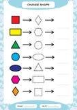 Veranderingskleur Kleurrijke vormen Lerende BasisVormen De kleur, Spoor, en trekt Aantekenvel voor peuterjonge geitjes practicing stock illustratie