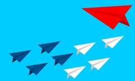 Veranderingsrichting - bedrijfs vectorillustratie als achtergrond Vliegtuig veranderende richting royalty-vrije illustratie