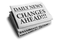 Verandert vooruit dagelijkse krantenkrantekop Stock Afbeeldingen